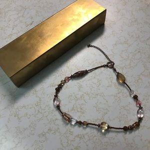 Lia Sophia Brass/Pink necklace